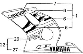 Nº 7 - (Ref.Yamaha 5EB-2839H-10-00 EMBLEM, COVER) Yamaha YZF R6 1999